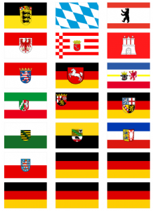 All 16 German States' Flag Stickers - 21 per sheet